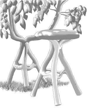 "Tree shaping - ""Grownup furniture"" by Chris Cattle created using a gradual tree shaping method"