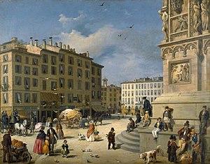 Amanzia Guérillot - Piazza del Duomo in Milan (c.1850)