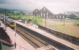 Guide Bridge railway station - Guide Bridge railway station, with a First TransPennine Express Class 185 ''Desiro'' unit passing through.