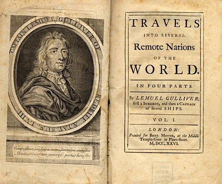 October 26: Gullivers Travels by Jonathan Swift is published. Gullivers travels.jpg