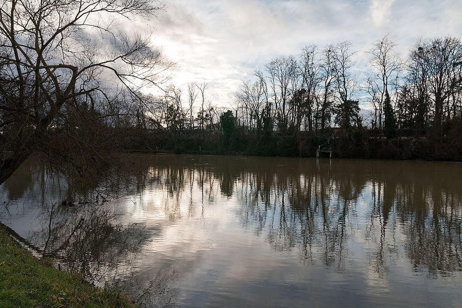 """The river Yonne seen from the bank of the""""Gué de la Baume"""" ."""