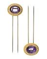 Hårnålar av guld med ametister och orientaliska pärlor. Del av garnityr - Hallwylska museet - 109879.tif