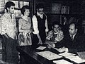 HCC Student advising with Dir George Frost, 1950.jpg