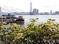 HK 上環 Sheung Wan north 干諾道中 Connaught Road Central footbridge view Hong Kong-Macau Ferry Piers Victoria Harbour ICC West Kln morning August 2019 SSG 08.jpg