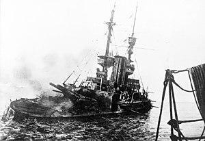 British battleship HMS Irresistible abandoned and sinking, 18 March 1915, during the Battle of Gallipoli
