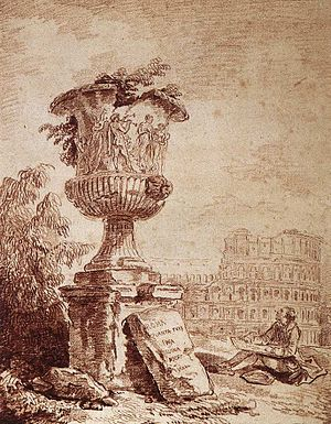 Borghese Vase - Capriccio: draughtsman sketching the Borghese Vase, red chalk, Hubert Robert, c. 1775