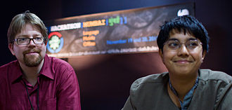 Erik Möller - Erik Möller and Sumana Harihareswara at the 2011 Mumbai Hackathon
