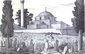 Koca Mustafa Pasha Mosque - The mosque in a drawing of 1877, from A.G. Paspates' Byzantine topographical studies