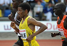 Haile competing on the track in Hengelo, the Netherlands