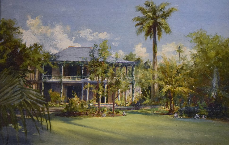 Haleakala - the C. R. Bishop Residence, oil on canvas painting by D. Howard Hitchcock, 1899, Bishop Museum