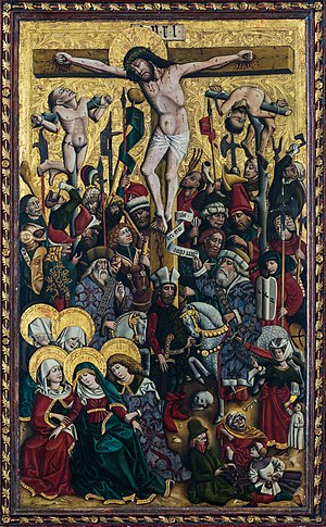 Crucifixion of Christ at the central panel of the Knappenaltar (altar of the miners) at the catholic parish church Hallstatt, Upper Austria