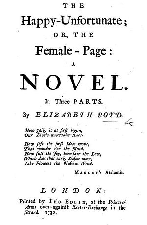 Elizabeth Boyd - Title-page to Elizabeth Boyd's novel of 1732