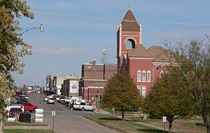 Hartington, Nebraska - Downtown Hartington; Cedar County Courthouse in right foreground