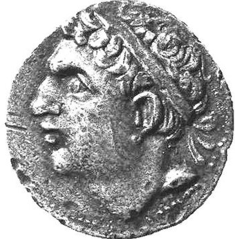 A Carthaginian coin depicting Hasdrubal Barca (245-207 BC), one of Hannibal's younger brothers, wearing a diadem Hasdrubal coin.jpg