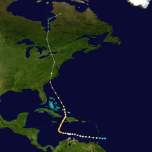 A track starts slightly east of the Lesser Antilles; it goes west until it turns north-northeast when it is south of Jamaica; it passes over Haiti, and reaches the Carolinas; it travels overland, passing through the Washington, D.C. area before dissipating over Canada