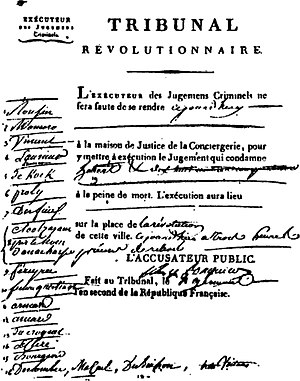 Hébertists - Order of execution for the Hébertists published by the Revolutionary Tribunal and signed by the hand of Fouquier-Tinville.