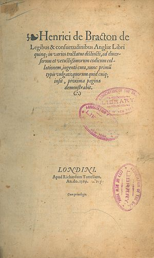 Richard Tottel - Image: Henry de Bracton, De legibus & consuetudinibus Angliæ (1st ed, 1569, title page)