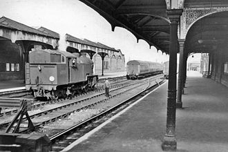 Hertford East railway station - View eastwards, out from stop blocks in 1959