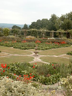 Hestercombe House - The 'Great Plat', with the Pergola beyond