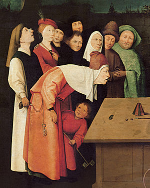 Gaze - Hieronymus Bosch's The Conjurer. The central figure (the conjurer) looks forward, steadily, intently, and with fixed attention. While other figures observe objects within the painting, and the woman in green appears to observe the viewer.