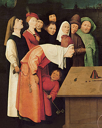 Gaze - Detail of The Conjurer, by Hieronymus Bosch, shows the central figure looking forward, steadily, intently, and with fixed attention, while other figures in the painting look outside the painting, and the woman in green observes the viewer of the painting.