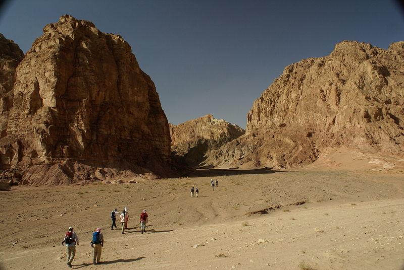 File:Hikers in wadi on Sinai.jpg