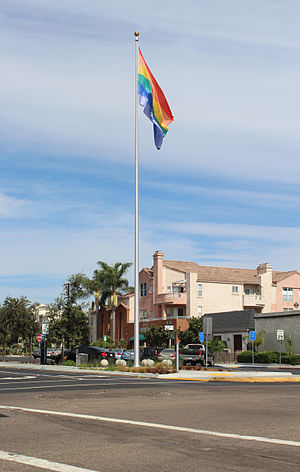 Hillcrest, San Diego - The Hillcrest Pride flag, erected in 2012. It is located in the median on Normal Street where it intersects with University Avenue