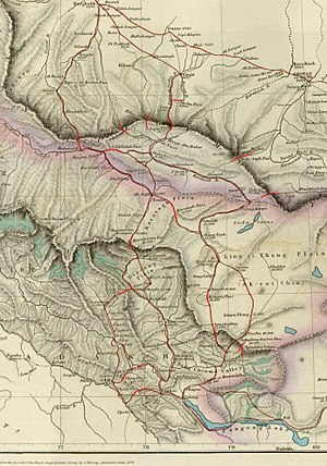 Hotan - Map of Central Asia (1878) showing Khotan (near top right corner) and the Sanju Pass, Hindutash, and Ilchi passes through the Kunlun Mountains to Leh, Ladakh. The previous border of the British Indian Empire is shown in the two-toned purple and pink band.