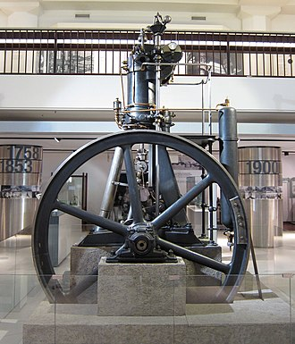 First fully functional diesel engine, designed by Imanuel Lauster, built from scratch, and finished by October 1896.  Rated power 13.1 kW Effective efficiency 26.2% Fuel consumption 324 g*kW *h . Historical Diesel engine in Deutsches Museum.jpg