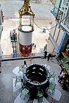 Hoisting of the Nozzle end segment of PSLV-C44 over the launch pedestal.jpg