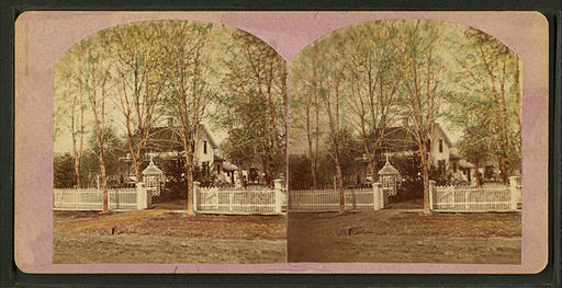 Home with a white picket fence and summer house, Geneseo, by Greene's Gallery