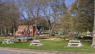Homer, Georgia - Looking across the park downtown towards the old Banks County Courthouse, the large brick building in the left background