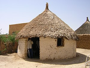 Earth structure - Earthen hut with thatched roof in Toteil, near Kassala, Sudan