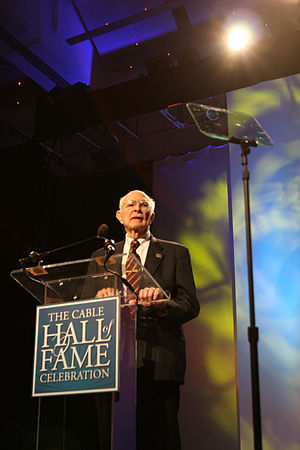 Hubert Schlafly - Schlafly using a teleprompter at Cable Hall of Fame induction