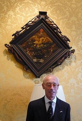 Pieter Biesboer - Pieter Biesboer and the Blazoen of Trou Moet Blycken painted by Jan Naghel