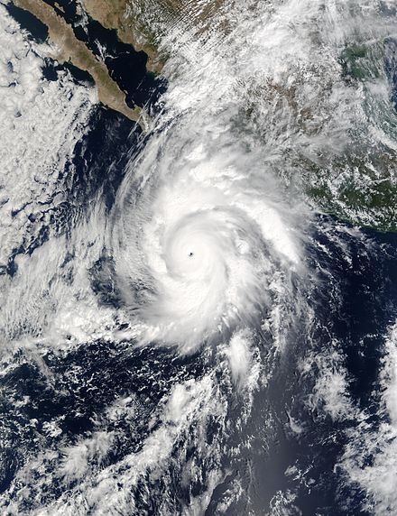 Hurricane Kenna of 2002 is the fourth strongest landfalling Pacific hurricane on record Hurricane Kenna 24 oct 2002 1750Z.jpg
