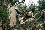 Damage to a mobile home in Davie, Florida following Hurricane Katrina