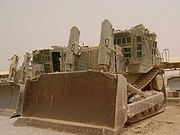 Israel Defense Forces armored Caterpillar D9L (right) and D9N (left) bulldozers
