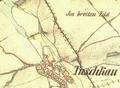 II. vojenske mapovani - Ves Touškov a Touškovský rybník.png