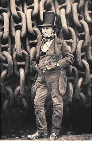 Isambard Kingdom Brunel - Brunel by the launching chains of the SS Great Eastern  by Robert Howlett, 1857