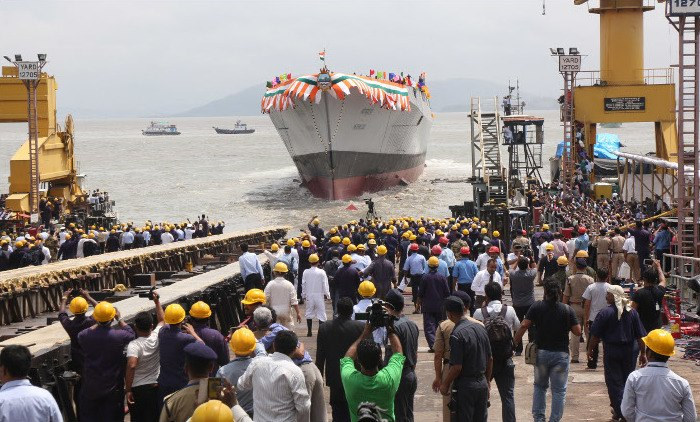INS Mormugao floats on her own post launch