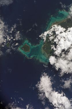 Satellite photo showing Manono & Apolima islands & west end of Upolu under clouds. (NASA photo, 2006).