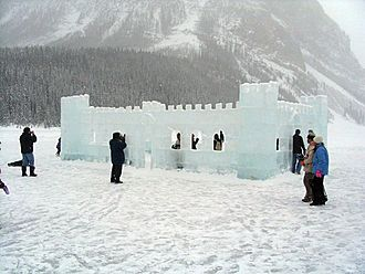 Ice sculpture - The Ice Castle at the International Ice Sculpture Competition and Exhibition 2005, Lake Louise, Alberta