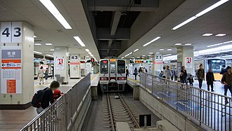 Ikebukuro Station - The view from the buffer stops at the south end of the platforms in April 2014