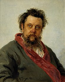 Modest Mussorgsky, painted 2-5 March 1881, only a few days before the composer's death Ilya Repin - Portret kompozitora M.P.Musorgskogo - Google Art Project.jpg