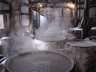 History of salt - Ancient method of boiling brine into pure salt in China