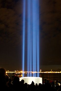 The Imagine Peace Tower in Iceland, a memorial to John Lennon