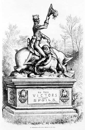 "Spoils system - In memoriam--our civil service as it was, a political cartoon by Thomas Nast showing statue of Andrew Jackson on a pig, which is over ""fraud"", ""bribery"", and ""spoils"", eating ""plunder"". Featured in Harper's Weekly on 28 April 1877, p. 325."