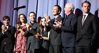 Inception - The cast at a premiere for the film in July 2010: From left to right: Cillian Murphy, Marion Cotillard, Joseph Gordon-Levitt, Ellen Page, Ken Watanabe, Michael Caine, and Leonardo DiCaprio