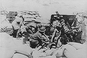 Battle of Keren - British artillery in action at the battle of Keren